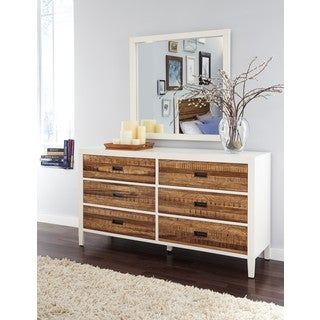 Montana White Lacquer and Natural Sengon 6-Drawer Dresser