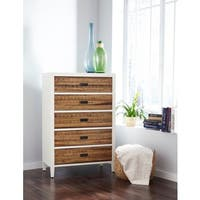 Montana White Lacquer and Natural Sengon 5-Drawer Chest