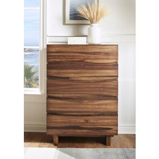 Ocean Natural Sengon Five Drawer Solid Wood Chest