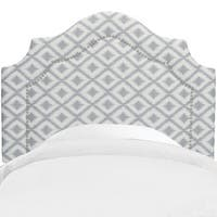 Skyline Furniture Nail Button Headboard in Ikat Fret Pewter