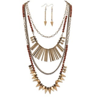 Round Lucite and Multi-Charm Vintage-Inspired 2-Piece Necklace and Earrings Set in Antique Gold Tone Bold Fashion