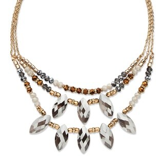 Marquise-cut Grey Crystal Multi-strand Gold-tone 18-inch Bold Fashion Statement Adjustable Necklace