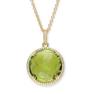 14k Gold Overlay 1/3ct TGW Simulated Peridot annd Cubic Zirconia Necklace