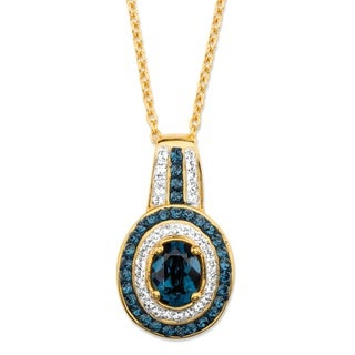 Oval-Cut Sapphire Blue and White Crystal  Pendant Necklace MADE WITH SWAROVSKI ELEMENTS in 18k Gold Color Fun