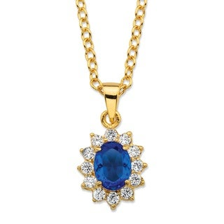 Swavorski Color Fun .57 TCW Oval-Cut Sapphire Blue Crystal and Cubic Zirconia Halo Pendant Necklace