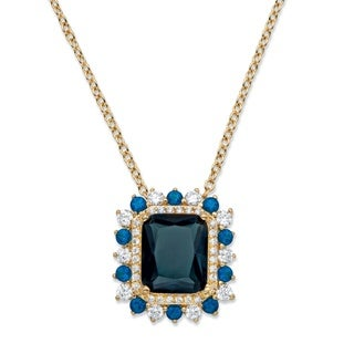 14k Yellow Gold, .80 TCW Emerald-cut Simulated London Blue Sapphire and Cubic Zirconia Halo Pendant Necklace