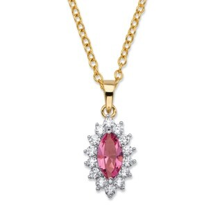 .49 TCW Marquise-Cut Pink Crystal and Cubic Zirconia Halo Pendant Necklace 14k Yellow Gold-Plated 18 Color Fun