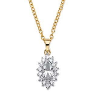 .49 TCW Marquise-Cut White Crystal and Cubic Zirconia Halo Pendant Necklace 14k Yellow Gold-Plated 1 Color Fun