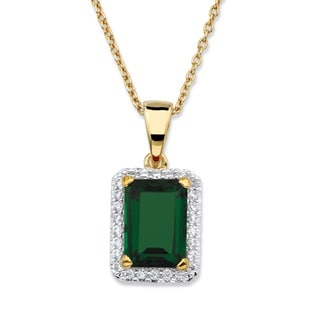 18k Yellow Goldplated 0.18 TCW Emerald-cut Simulated Green Emerald and Cubic Zirconia Pendant Necklace