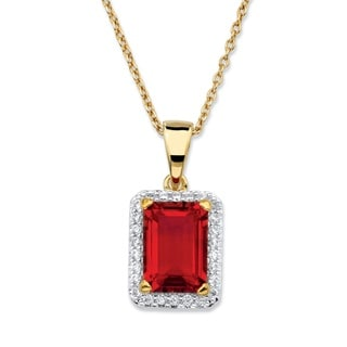Color Fun 18k Yellow Gold-plated .18 TCW Emerald-cut Simulated Red Ruby and Cubic Zirconia Pendant Necklace