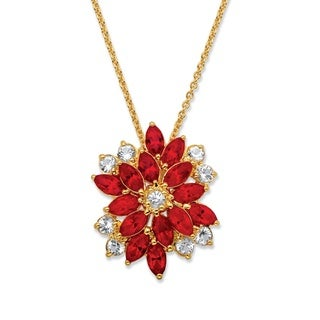 Marquise-Cut Red and White Crystal Pendant Necklace Made With Swarovski Elements Yellow Gold-Pla