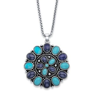 """Oval-Cut Simulated Turquoise and Blue Lapis Rope Accent Pendant Necklace in Antiqued Silvertone 18"""" Color Fun"""