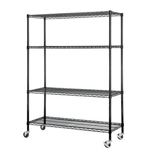 Excel NSF Multi-Purpose 4-Tier Black Wire Shelving Unit with Casters