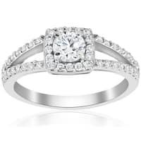 14k White Gold 7/8 ct TDW Diamond Cushion Halo Split Shank Engagement Ring