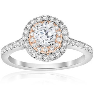 14k White & Rose Gold 7/8 ct TDW Diamond Double Halo Engagement Ring (I-J,I2-I3)