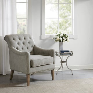 Julian Taupe Button Tufted Accent Chair