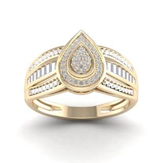 De Couer 1/8ct TDW Diamond Cluster Ring - Yellow