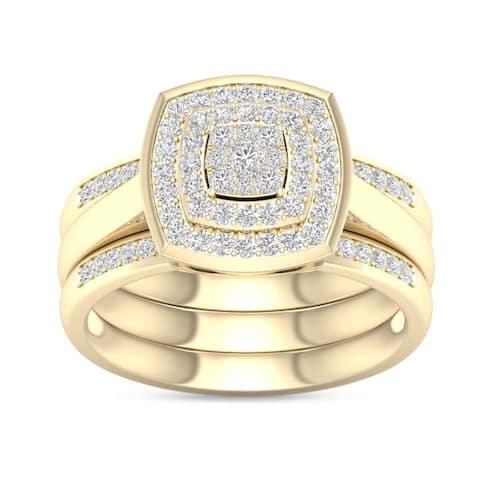 De Couer IGI Certified 2/5ct TDW Diamond Cluster Halo Ring