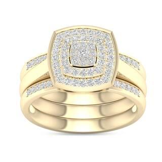 De Couer IGI Certified 2/5ct TDW Diamond Cluster Halo Ring - Yellow