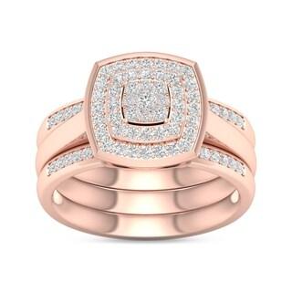 De Couer IGI Certified 2/5ct TDW Diamond Cluster Halo Ring - Pink