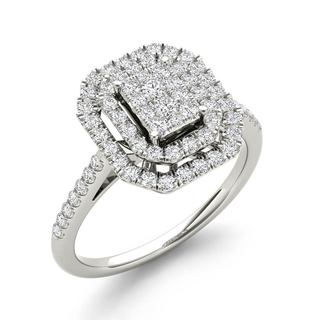De Couer 1/2ct TDW Diamond Cluster Halo Engagement Ring - White H-I
