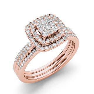 De Couer IGI Certified 1 3ct TDW Cluster Halo Bridal Set Pink