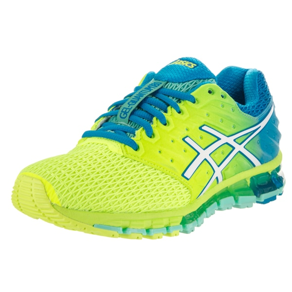Shop Asics Women s Gel-Quantum 180 2 Yellow and Blue Textile Running ... dae185a90fa