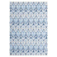 Handmade Mykonos Blue Ivory Wool Rug - 7'6 x 9'6