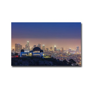 L.A Skyline with Griffith Observatory by Toby Harriman Visuals Gallery-Wrapped Canvas Giclee Art