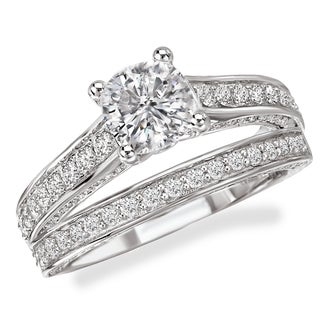 Avanti Rhodium Plated Sterling Silver Cubic Zirconia Round Center And Cathedral Shank Bridal Set