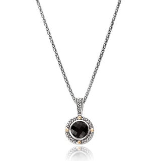 Avanti Sterling Silver and 18K Yellow Gold Round Black Onyx With Rope Trim Pendant Necklace