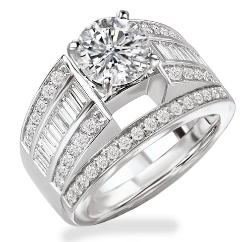 Avanti Rhodium Plated Sterling Silver Cubic Zirconia Round Center With Baguette And Round Wide Three Row Bridal Set