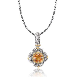Avanti Sterling Silver and 18K Yellow Gold Round Citrine Swirl Design Pendant Necklace
