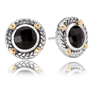 Avanti Sterling Silver and 18K Yellow Gold Faceted Round Black Onyx Earrings