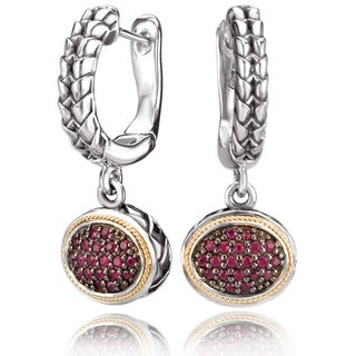Avanti Sterling Silver and 18K Yellow Gold Pave Set Ruby Oval Dangle Earrings
