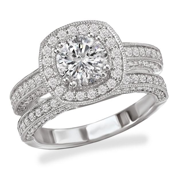 a4e31c472 Avanti Rhodium Plated Sterling Silver Cubic Zirconia Round Center with  Cushion Shape Halo Vintage Bridal Set
