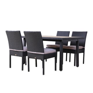 BroyerK Faux Wood 5-Piece Outdoor Dining Set