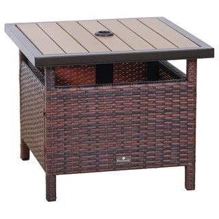 BroyerK Rattan Wood Patio Umbrella Stand/ Dining Table