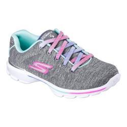 Girls' Skechers GOwalk 3 Jersey Jumpers Walking Sneaker Gray/Mint