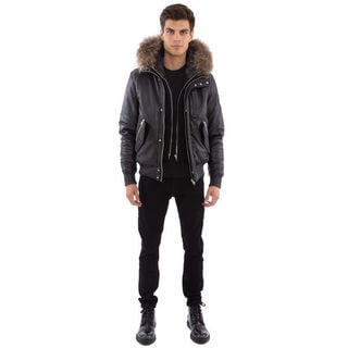 Black Cross Men's Leather Bomber Jacket