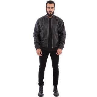 Black Cross Leather Baseball Bomber Jacket