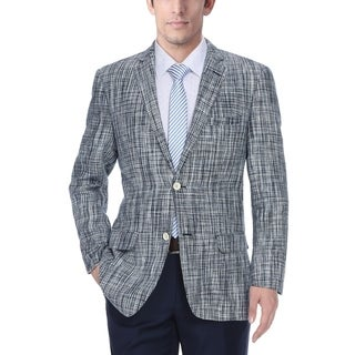 Verno Men's Black and White Tattersall Plaid Patterned Linen Slim-fit Blazer