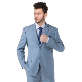 Verno Men's Light Blue Notch Lapel Slim Fit Jacket and Pants Suit