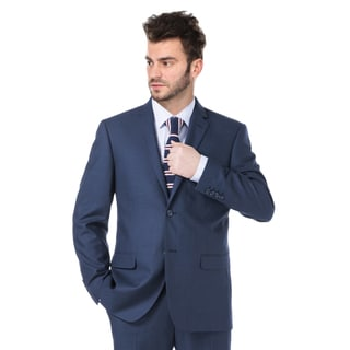 Verno Navy Blue Notch Lapel Slim Fit Jacket and Pants Suit