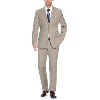 Verno Men's Tan and Blue Two-tone Textured Classic Fit Jacket and Pants Suit