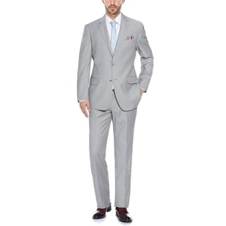 Verno Putty and Blue Two-tone Textured Classic Fit Suit
