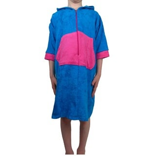 Girls Blue/Pink Cotton-blend Terry Cloth Swim Robe with Hood