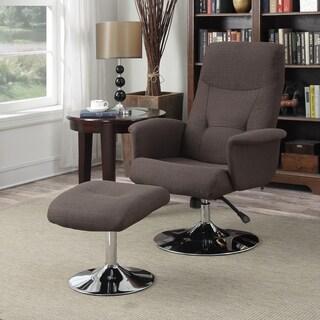 Handy Living Dahna Chocolate Brown Linen Chair and Ottoman