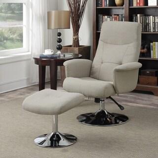 Handy Living Dahna Barley Tan Linen Chair and Ottoman