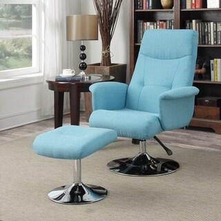 Handy Living Dahna Turquoise Blue Linen Chair and Ottoman